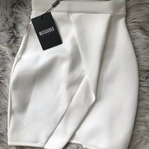 White Origami Wrap Scuba Mini Skirt